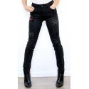 Onado jeans femme slim noir décoré
