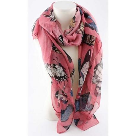 écharpe rose en viscose motifs papillons-My Dressing
