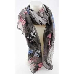 écharpe grise en viscose motifs papillons