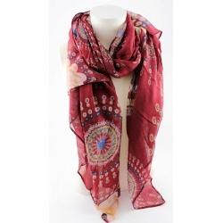 écharpe rouge en viscose motifs hippie