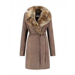 Rino & Pelle false fur coat with belt in taupe brown