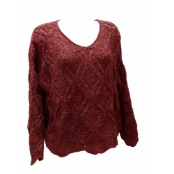 Pull femme grosse maille manches longues col V fil d'or