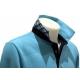 Polo Stil Park manche longue bleu turquoise revers carreaux-MyDressing