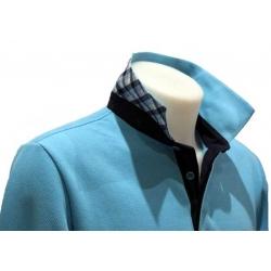 Polo Stil Park manche longue bleu turquoise revers carreaux