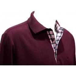 Polo Stil Park manches longues aubergine col chemise carreaux