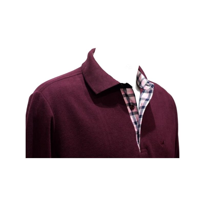 9035f1213fcef Polo Stil Park manches longues aubergine col chemise carreaux-My Dressing.  Loading zoom