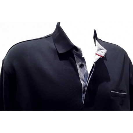 Polo Stil Park marine manches longues col jeans avec poche poitrine-My Dressing