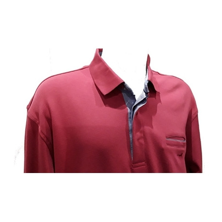 Polo Stil Park rouge manches longues col jeans avec poche poitrine-grande taille