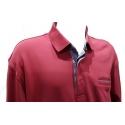 Polo Stil Park rouge manches longues col jeans avec poche poitrine