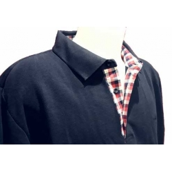 StilPark men's Polo blue marine checkered shirt collar