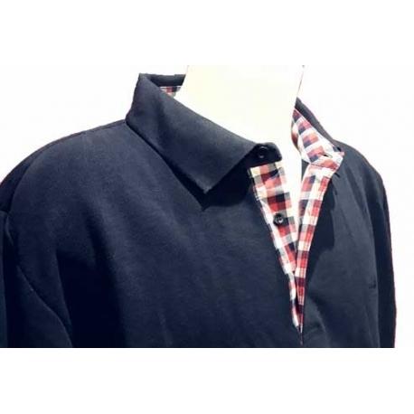 StilPark men's Polo blue marine checkered shirt collar