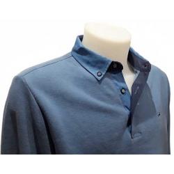 Polo Stil Park bleu ciel manche longue col chemise en soie