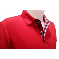 Stil Park red polo shirt long sleeve checked fabric collar