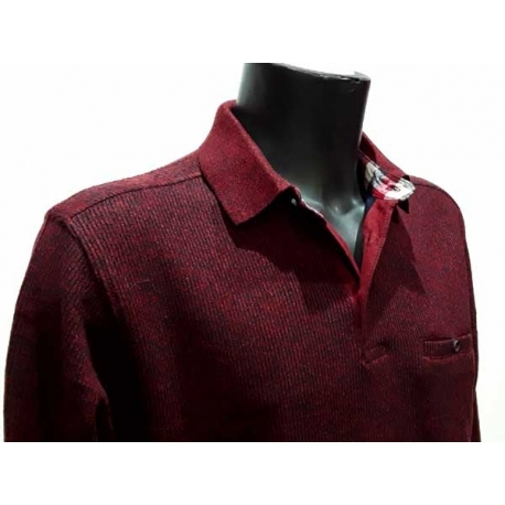 Polo Stil Park chaud bordeaux bords cotes col carreaux-My Dressing