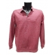 Polo homme rouge clair manches longues