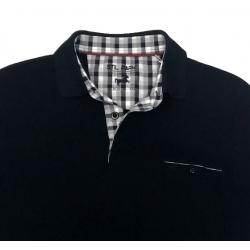 Stil Park-polo homme noir avec poche poitrine col carreaux