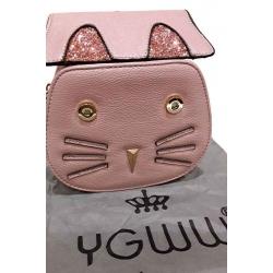 Sac chat simili cuir grainé couleur rose