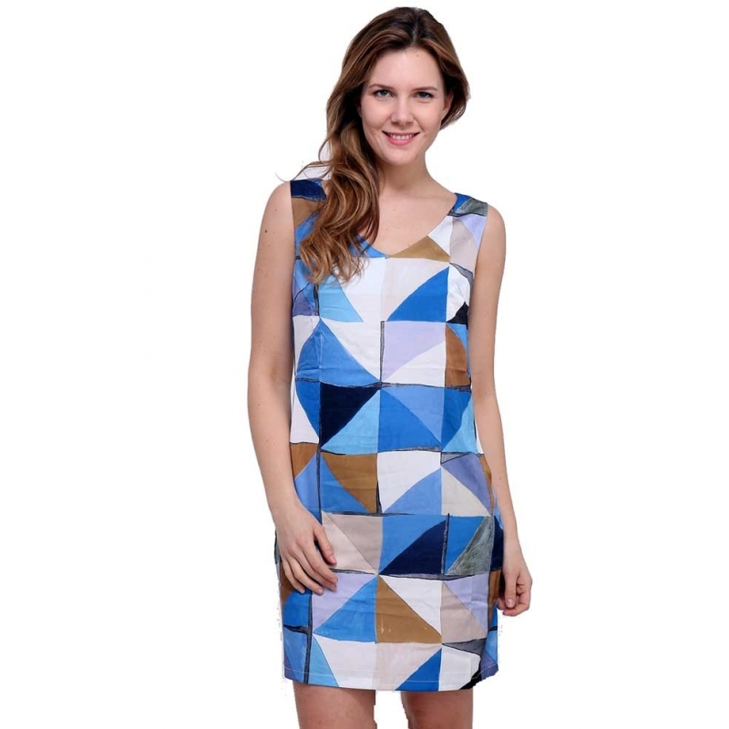 d062d398b2d Robe droite satin Sweet Miss coloris bleu en viscose-My Dressing. Loading  zoom