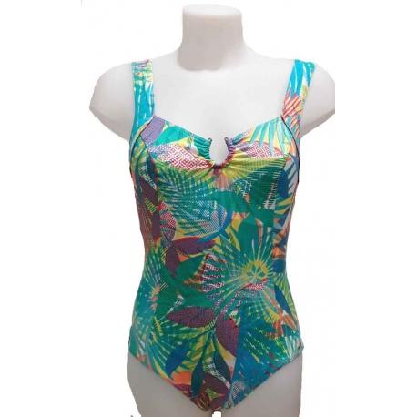 Ocean Wear maillot une pièce femme imprimé tropical bleu
