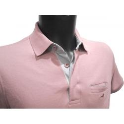 Polo homme Stil Park rose pale manches courtes à poche poitrine col jeans-My Dressing