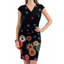 Sweet Miss Robe en jersey noir spots multicolore-My Dressing