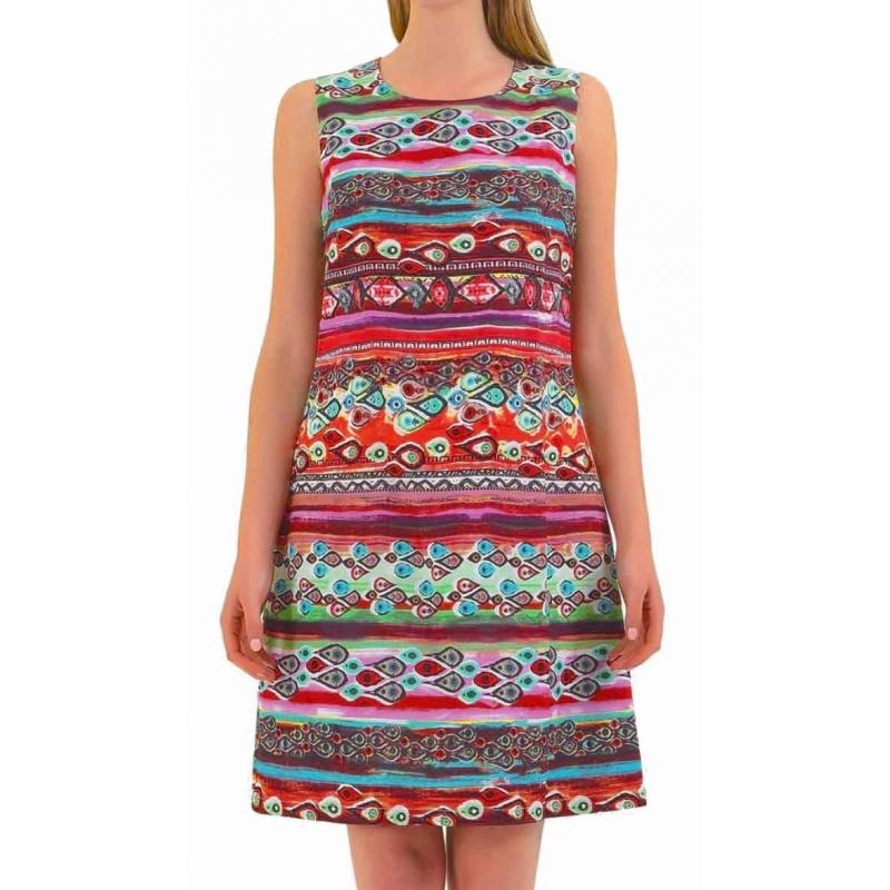Robe droite Sweet Miss colorée en coton et lin-My Dressing. Loading zoom bc09989d5efb