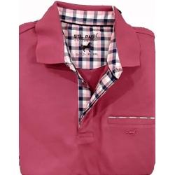 Polo Stil Park manches courtes framboise col carreaux avec poche