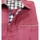 Polo Stil Park manches courtes framboise col carreaux avec poche-MyDressing