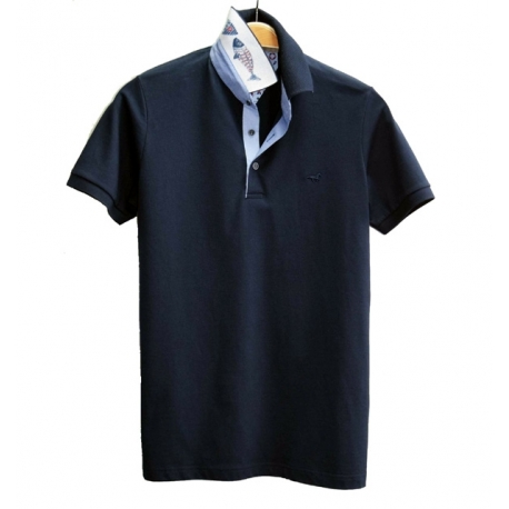 Stil Park polo manches courtes marine col chemise poisson-MyDressing