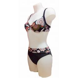 Maillot 2 pièces femme Ocean Wear forme soutien gorge noir mandalas