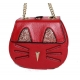 Sac chat simili cuir grainé de couleur-My Dressing