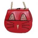 Sac chat-petit sac à main cuir grainé couleur rouge