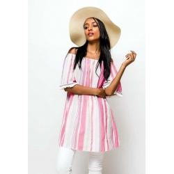 Tunique coton et lin à manches imprimés rayé-My Dressing