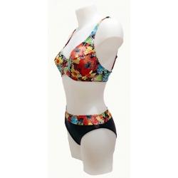 Ocean Wear maillot 2 pièces femme forme soutien gorge noir et imprimé-My Dressing