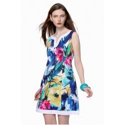 Robe été Sweet Miss en coton forme trapèze fleurs bleues