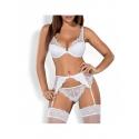 Obsessive Ensemble de lingerie sexy blanc 3 pièces Etheria