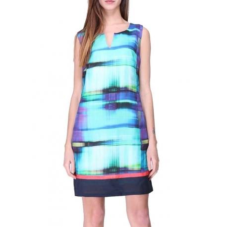 Robe droite Sweet Miss colorée turquoise violet en ramie-My Dressing