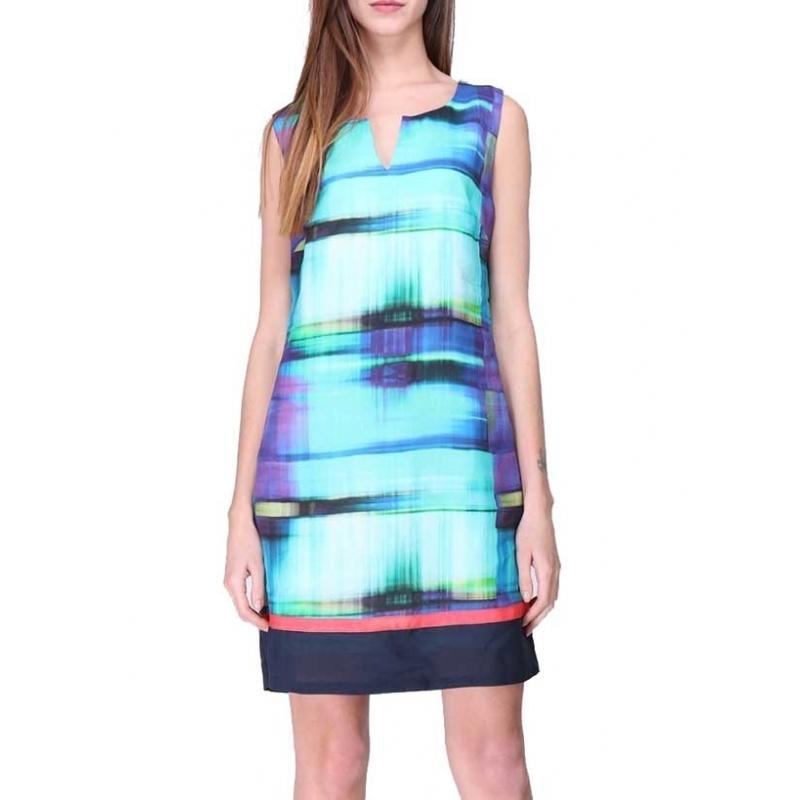 Robe droite Sweet Miss colorée turquoise violet en ramie-My Dressing. Loading  zoom 7125072478d6