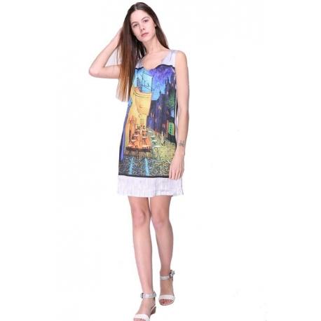 Robe droite Sweet Miss colorée en viscose satin style tableau-My Dressing