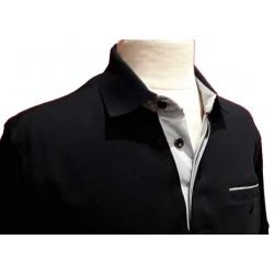 Polo Stil Park manches courtes noir col rayé avec poche