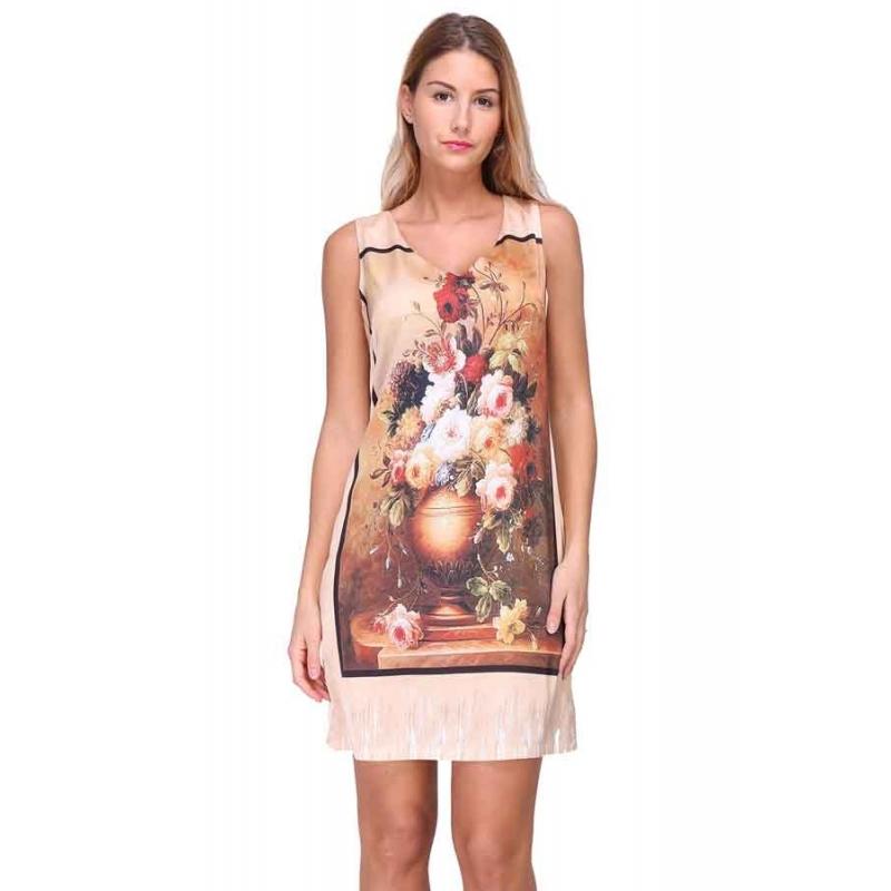 Sweet Miss robe satin imprimés tableau design Italien original 97e76bddeb65