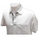 Polo Stil Park manches courtes blanc col chemise et poche