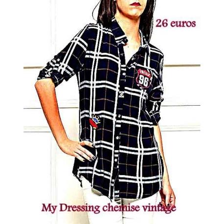 Chemise vintage femme noire à écussons