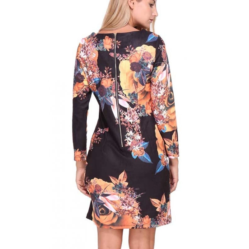 Robe Sweet Miss droite noire à fleurs manches 3 4-My Dressing. Loading zoom b08264bbe9c8
