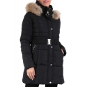 Doudoune femme noire avec ceinture et capuche