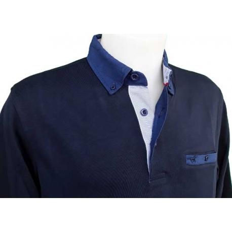 Polo homme Stil Park marine manches longues à poche poitrine col jeans-My Dressing