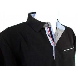 Polo Stil Park noir col jeans liseré france manches longues et poche