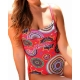 Maillot 1 pièce femme dessin mandalas rouge Ocean Wear