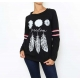 T-shirt femme noir manches longues imprimé plumes-My Dressing