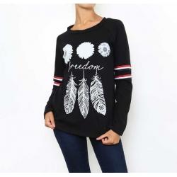 T-shirt femme manches longues imprimé plumes